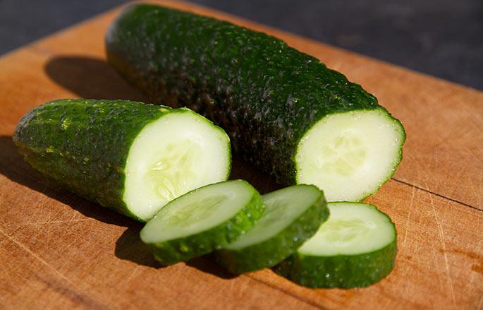 Fin agurk høstet i den her størrelse.