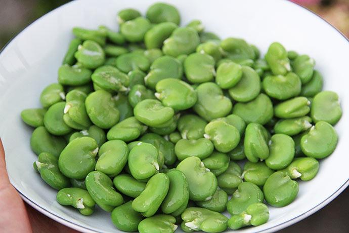 Så er der valske bønner - Jeg giver dem bare lidt god olivenolie og et drys flagesalt inden servering.