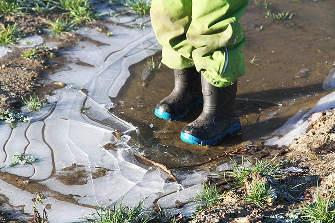 Der var maser af knaseis, men også vand under isen.