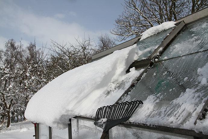 Der lå meget sne på drivhustaget, og det blev taget ned med en plastløvrive.