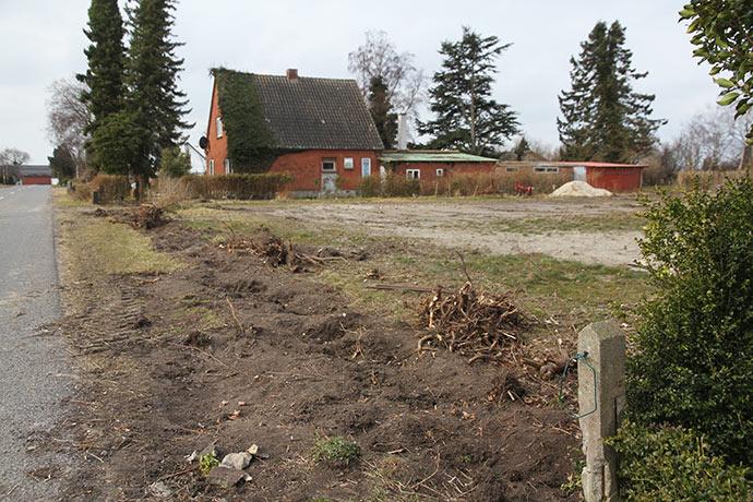 Fra skelpælen mellem vores to matrikler og hen til naboen skal der plantes hæk og sættes hegn op.
