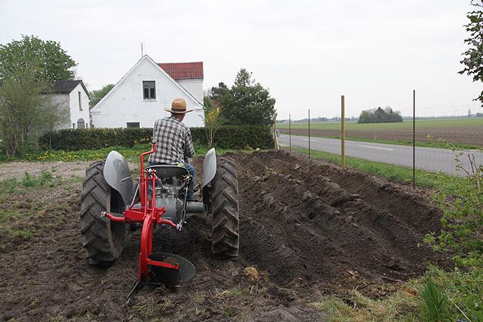 Med ploven fik vi lavet furer til at lægge kartofler og jordskokker i.